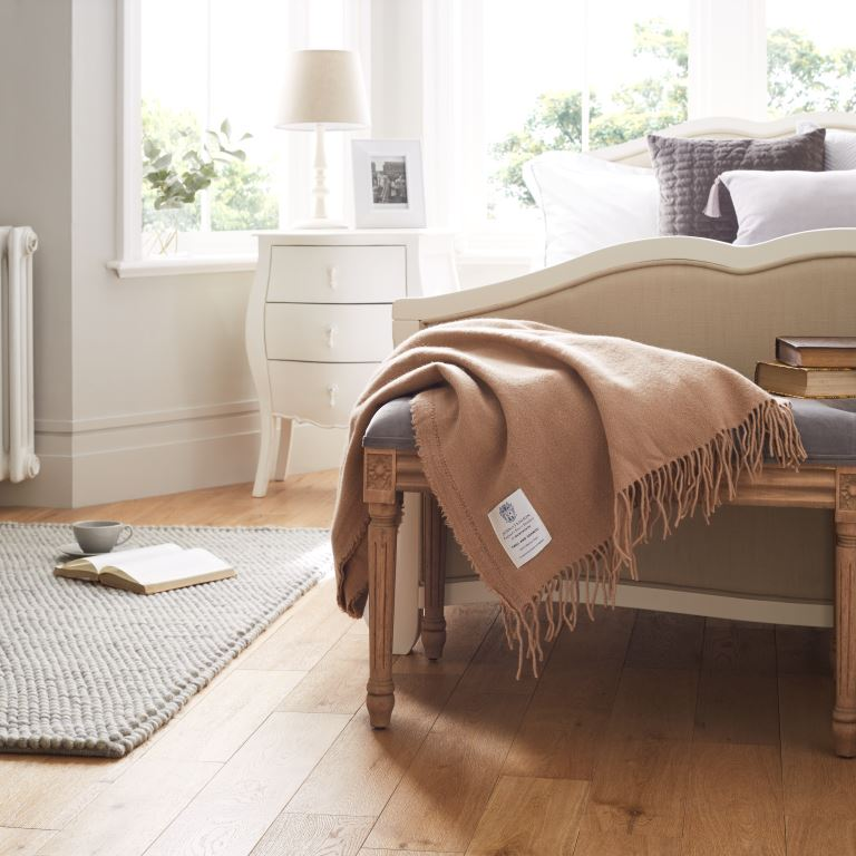 Camel Brown John Atkinsion Twill and Granite Merino Wool Throw In Bedroom