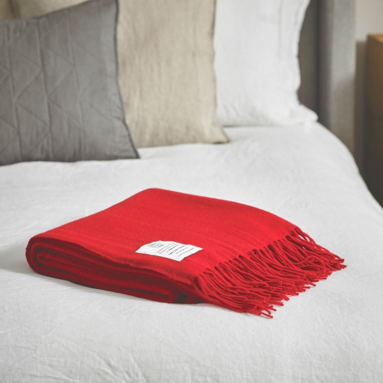 John Atkinsion Twill and Granite Merino Wool Throws Cherry