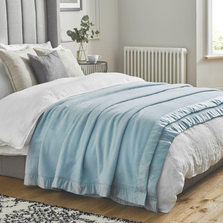 John Atkinson Duchess Blanket Alaskan Blue on Bed