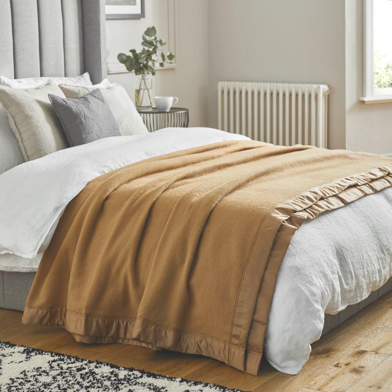 John Atkinson Duchess Blanket Camel on Bed