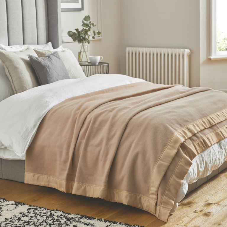 John Atkinson Duchess Blanket Champagne on Bed