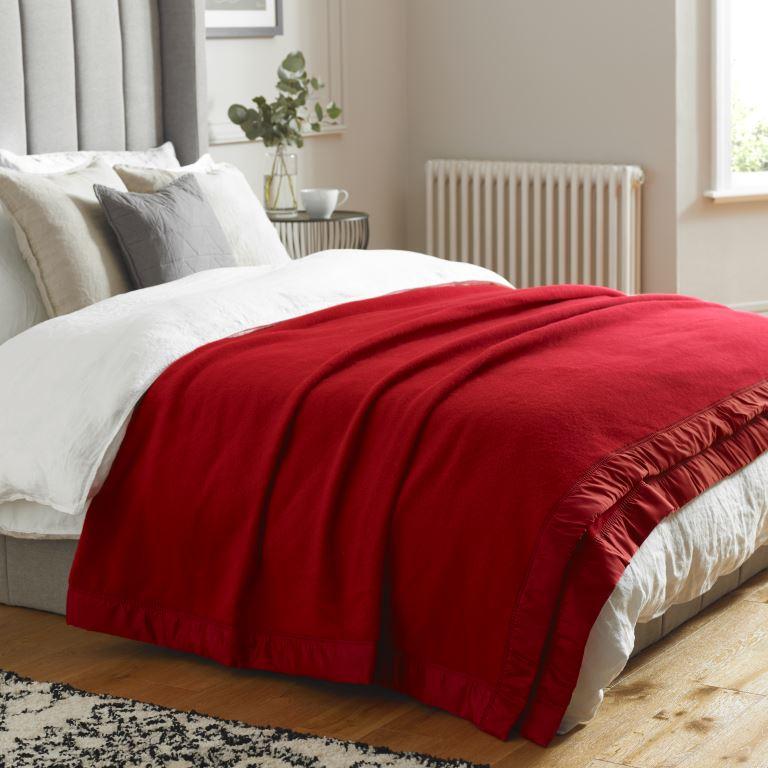 John Atkinson Duchess Blanket Cherry Red on Bed