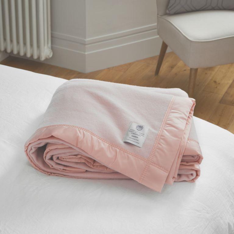 John Atkinson Duchess Double Powder Pink pure merino wool blankets