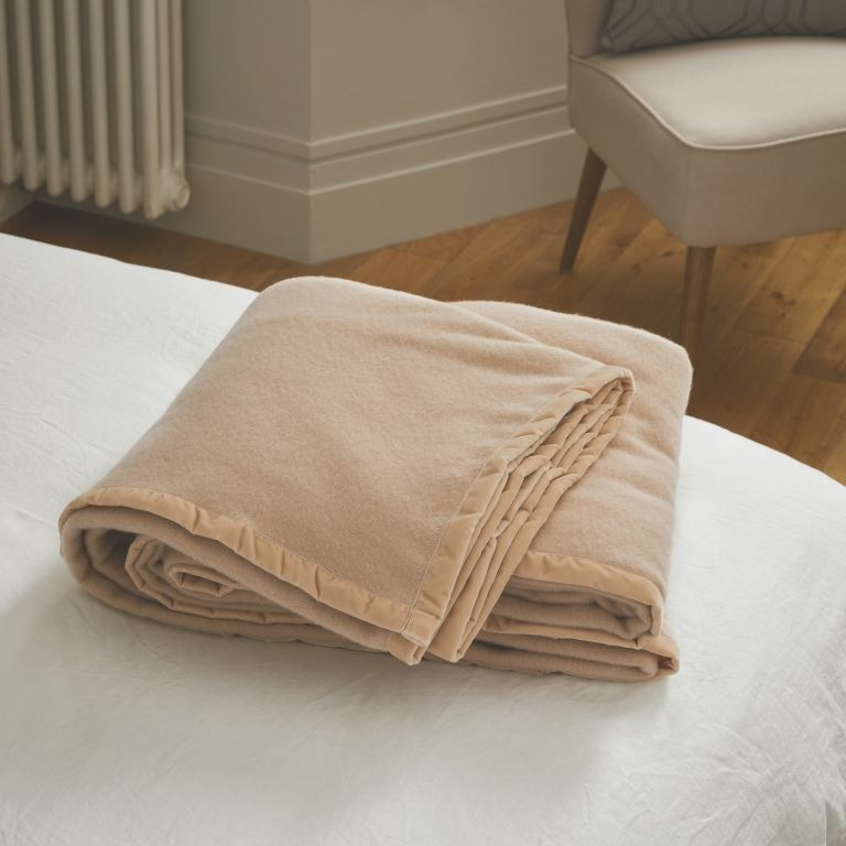 John Atkinson Elizabeth Champagne colour pure lambswool blankets