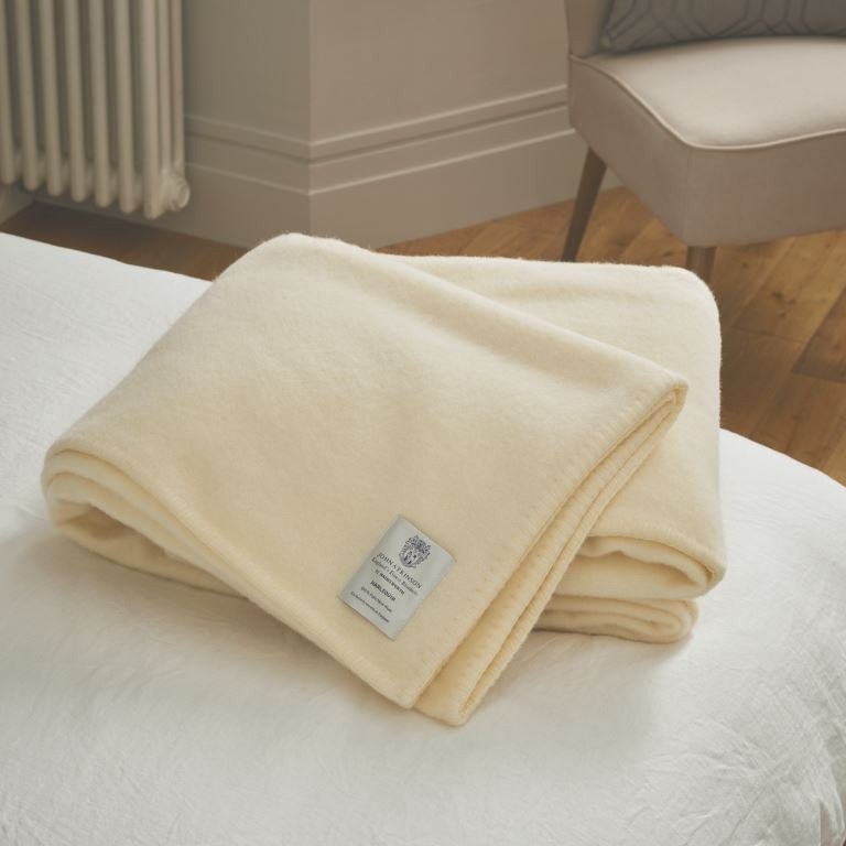 John Atkinson Harlequin Double Pure New Wool Blankets In White
