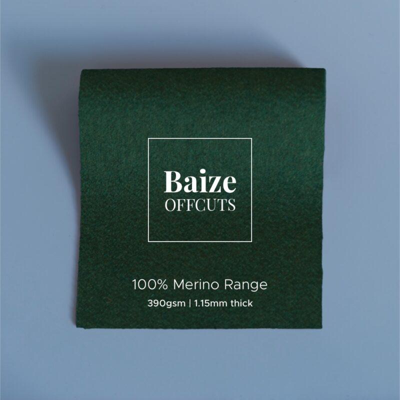 baize offcuts remnants 100 percent merino moss green