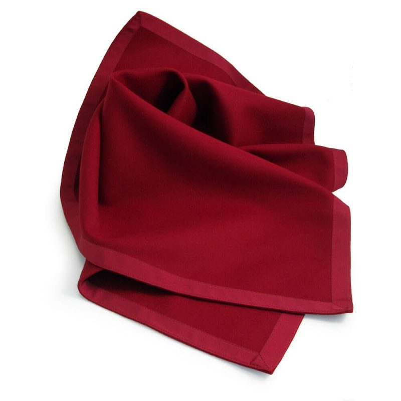 Burgundy Red Baize Bridge Cloth with Red Petersham Edging