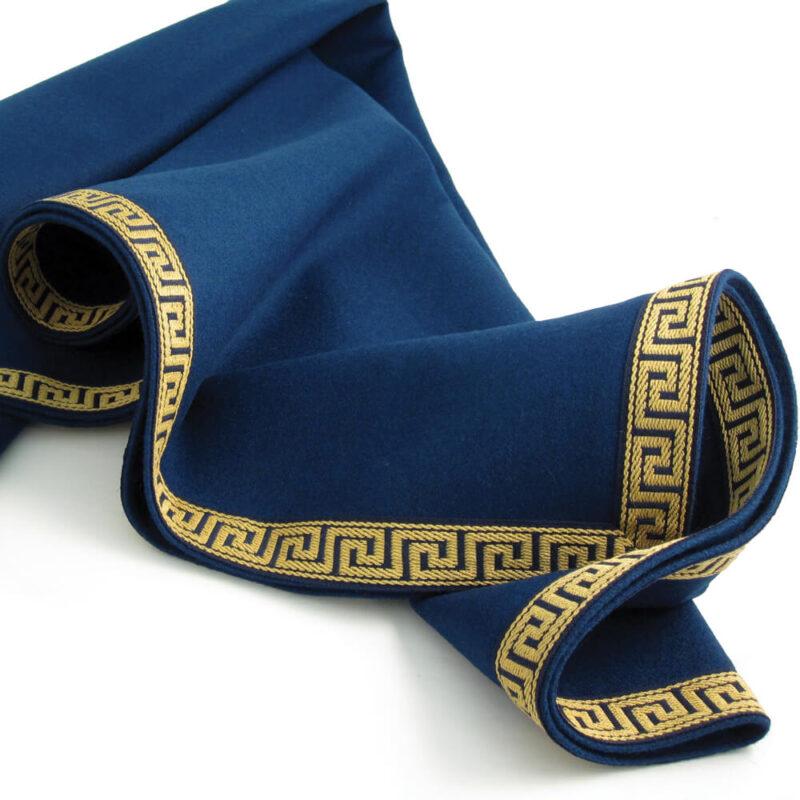 blue red luxury tablecloth greek key trim