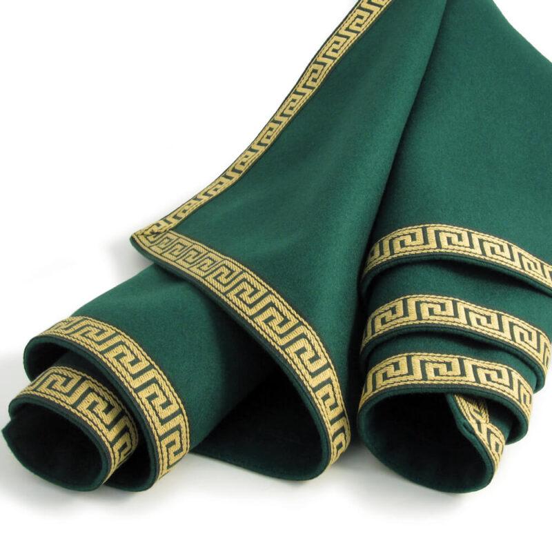 green red luxury tablecloth greek key trim