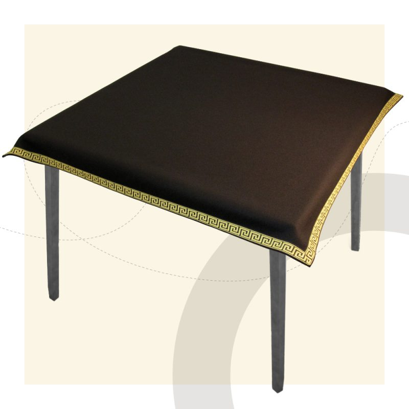 made to measure black luxury tablecloth with gold greek key trim